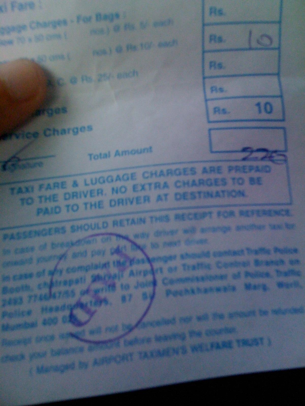 fake taxi receipt