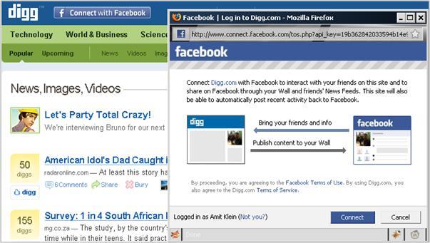 Facebook Connect Digg